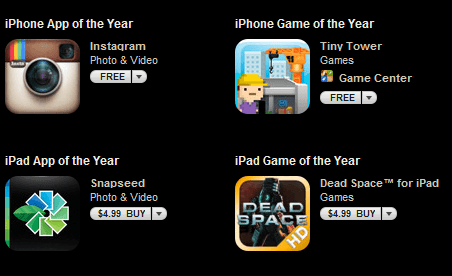 Apple Announces Apps of the Year