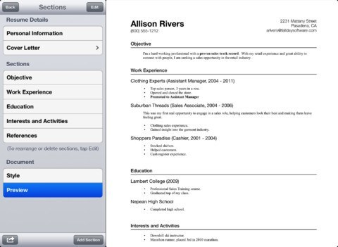 Resume app for ipad reviews