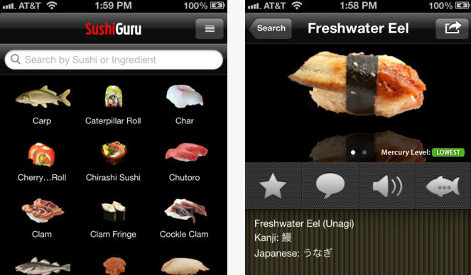 4 awesome iphone ipad apps for sushi iphoneness for Sushi fish names