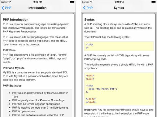 6 Handy iPhone / iPad Apps for PHP Coding -