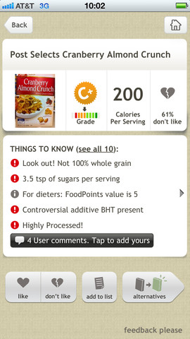app for scanning barcodes of foods for diet