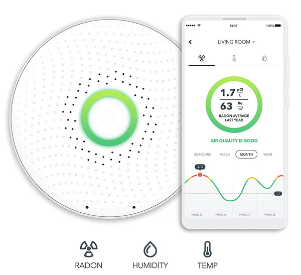 Airthings Wave Smart Radon Detector with App -